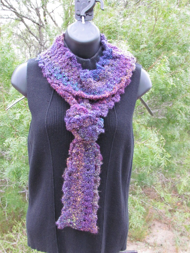 Long Skinny Eternity Scarf - Purple Tones - Memorable Crafts - Very Long Narrow
